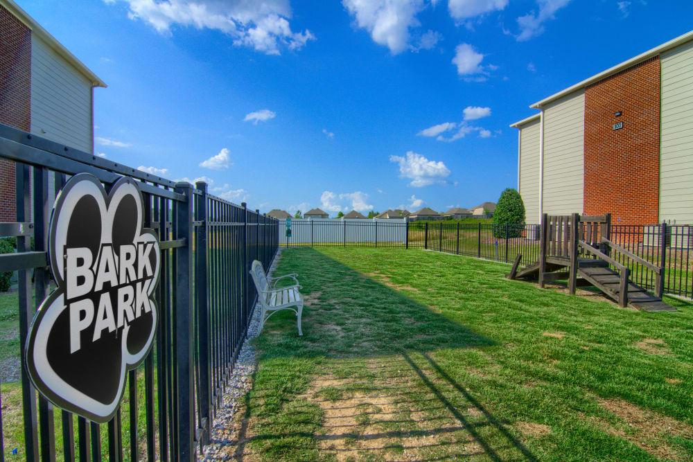 Dog park at Lancaster Place in Calera, Alabama