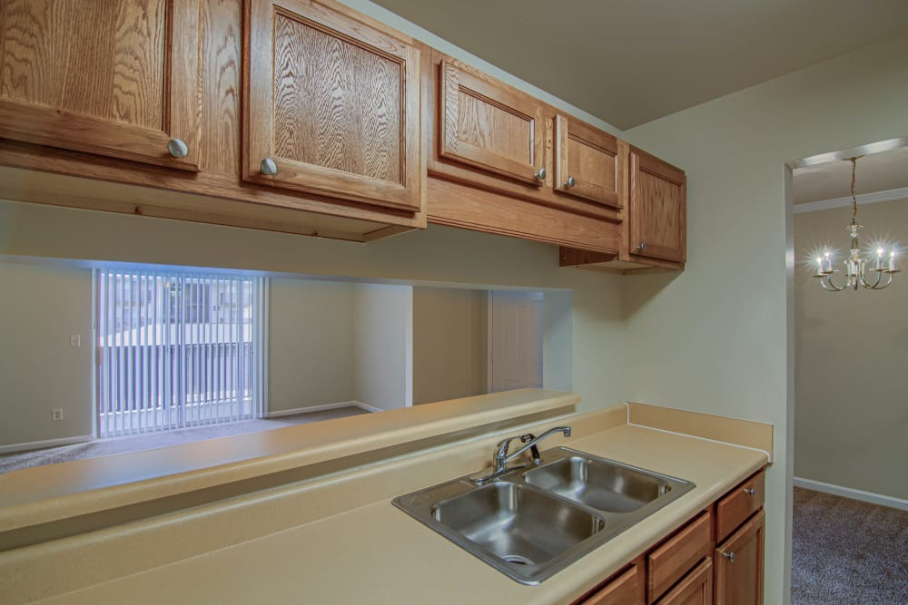 Galley kitchen at Lancaster Place in Calera, Alabama