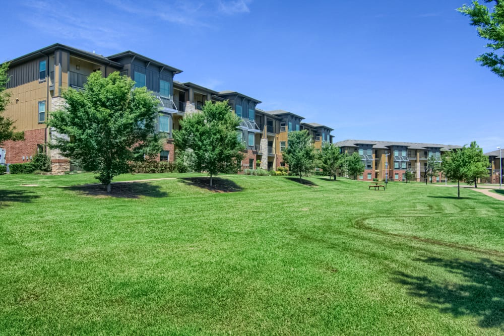 Luxurious green lawns at Tradan Heights in Stillwater, Oklahoma