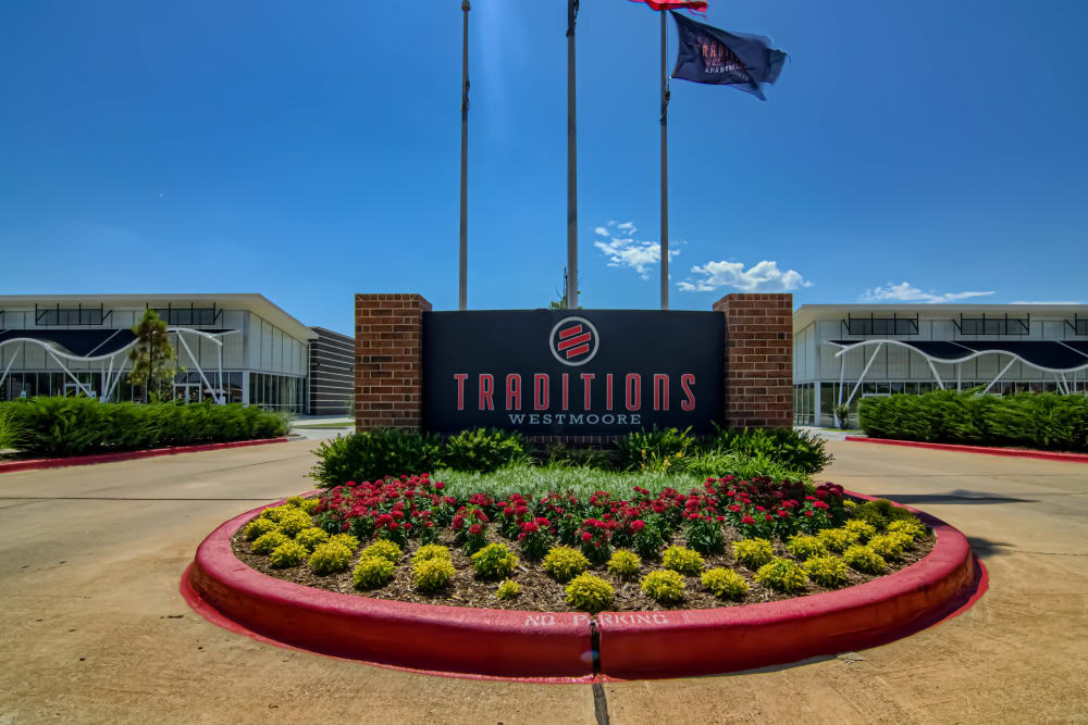 Entry sign at Traditions at Westmoore in Oklahoma City, Oklahoma