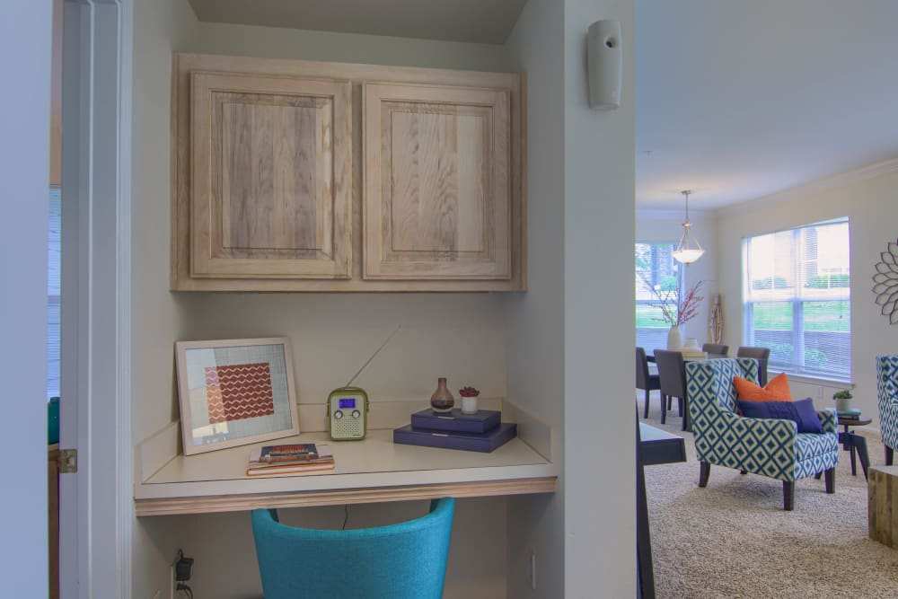 Office nook in a unit at Vintage on Yale in Tulsa, Oklahoma