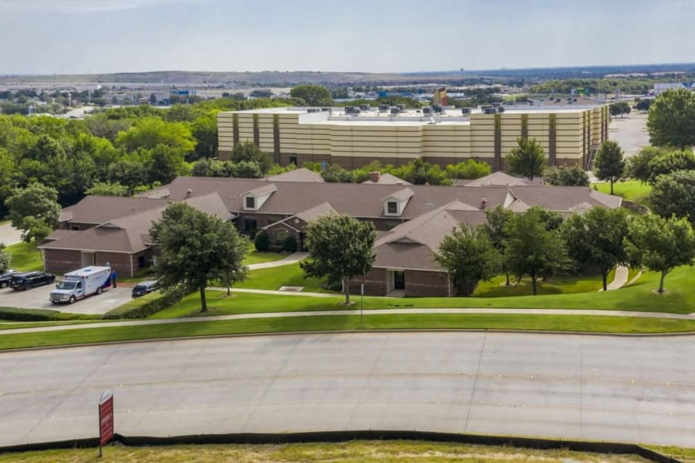Exterior on a sunny day at RockBrook Memory Care in Lewisville, Texas