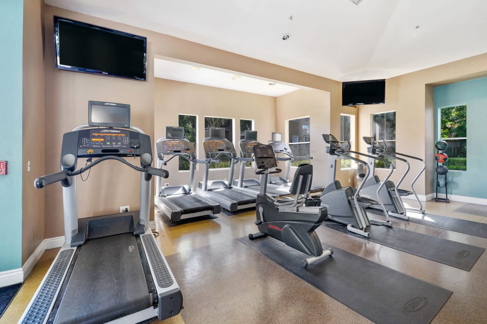 Fitness center with individual workout stations at Rosewalk in San Jose, California