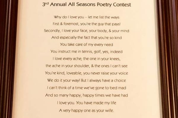 Winning poem of the valentine's poetry contest at All Seasons of West Bloomfield in West Bloomfield, Michigan
