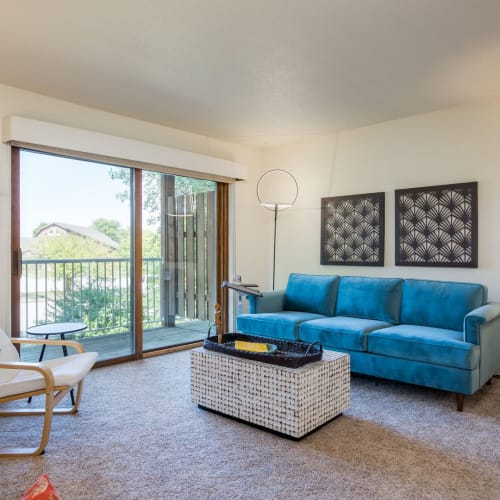Bright open living room at Gateway Hills Apartments in Ames, Iowa