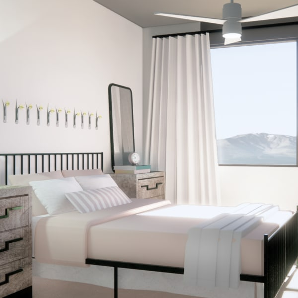 Bedroom rendering with large windows and ceiling fan to stay cool on those hot days at The Piedmont in Tempe, Arizona