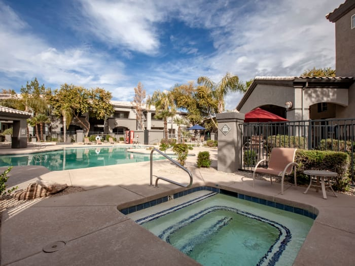 Spa and swimming pool area at Sierra Canyon in Glendale, Arizona