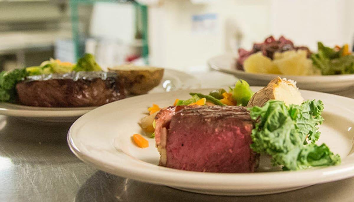 A medium rare steak prepared at Touchmark on West Century in Bismarck, North Dakota