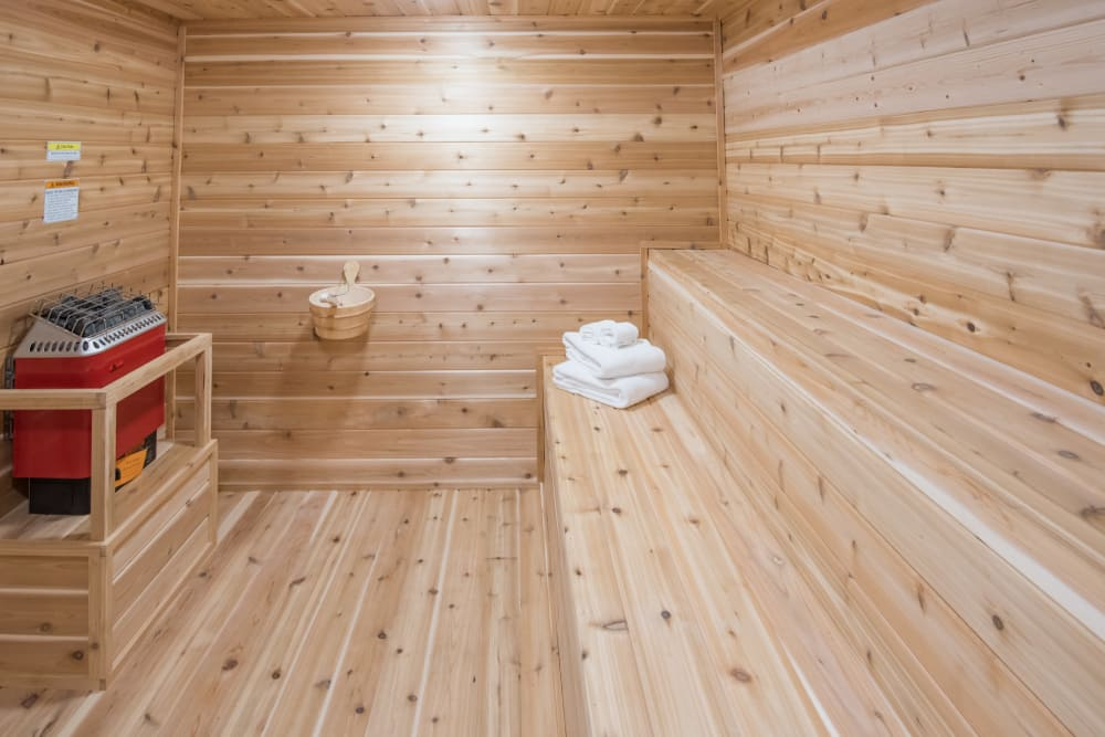 A sauna for sweating it out at Rancho Palisades in Dallas, Texas