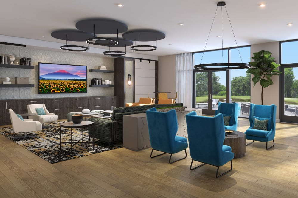 A rendering of an entertainment room at Main Street Apartments in Rockville, Maryland