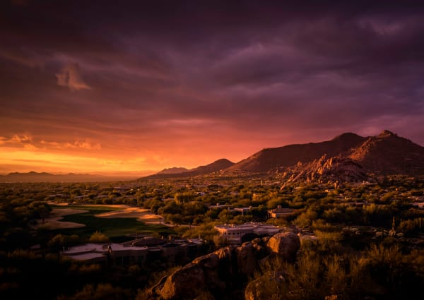 Gorgeous sunset view of the landscape near TerraLane at South Mountain in Phoenix, Arizona