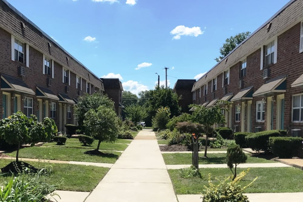 Front entrance walkway at Bishop - Stratford Court Apartments in Stratford, New Jersey