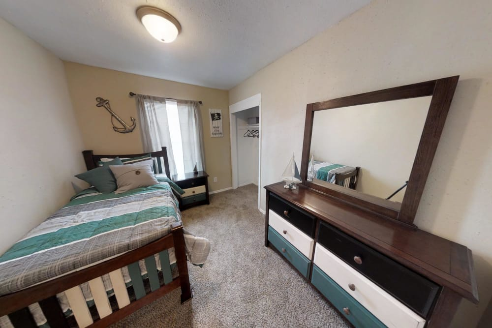 Maple Trail Apartments & Townhomes offers a spacious second bedroom in Pasadena, Texas