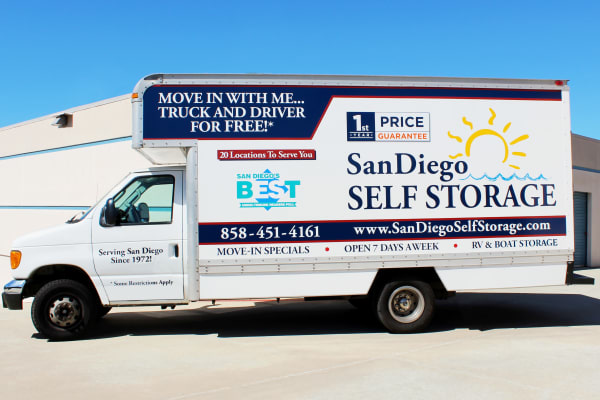 San Diego Self Storage offers free moving trucks like this one