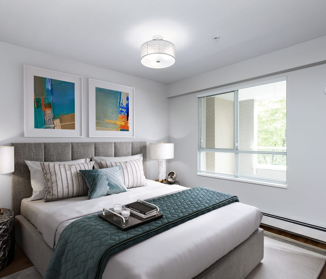 Large bedroom windows at Larchway Gardens in Vancouver