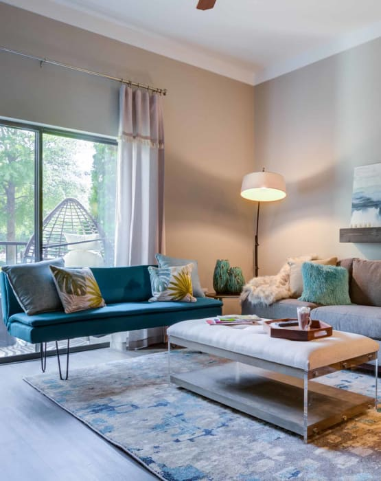 Living room at Celsius in Charlotte, North Carolina