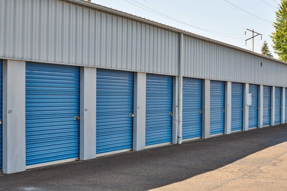 Blue doors on storage units at I-5 Mini Storage in Wilsonville, Oregon