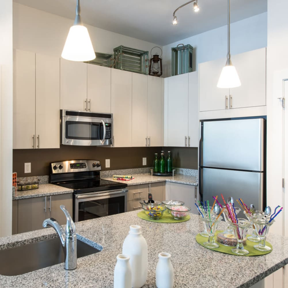 A modern kitchen with stainless-steel appliances at Solaire 10914 Georgia in Silver Spring, Maryland