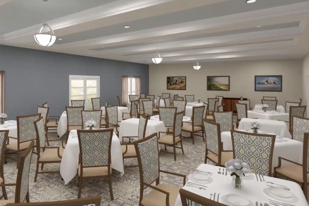 Architectural rendering of dining at Harmony at Brookberry Farm in Winston-Salem, North Carolina