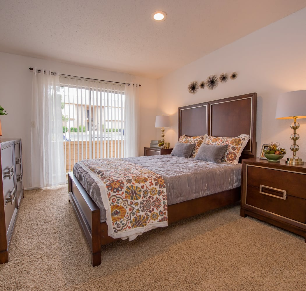 Master bedroom in model home at Windsail Apartments in Tulsa, Oklahoma