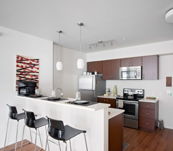 Bright and modern kitchen in model home at Grant Park Village