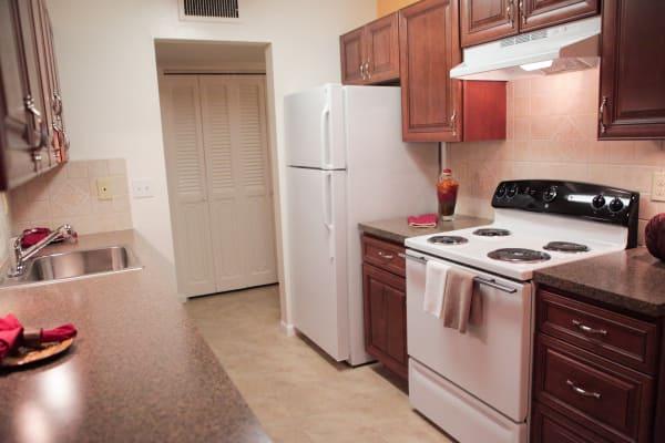 Model kitchen at Lime Tree Village in Deerfield Beach, FL
