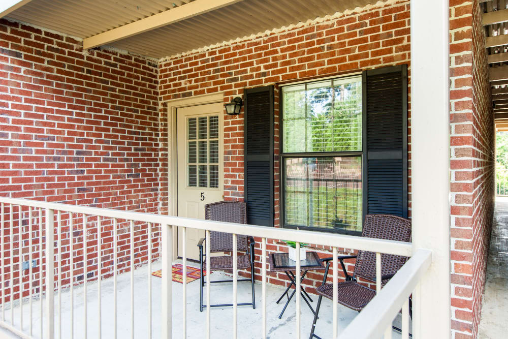 The balcony at one of the apartment homes at Cross Creek Cove Apartments & Townhomes