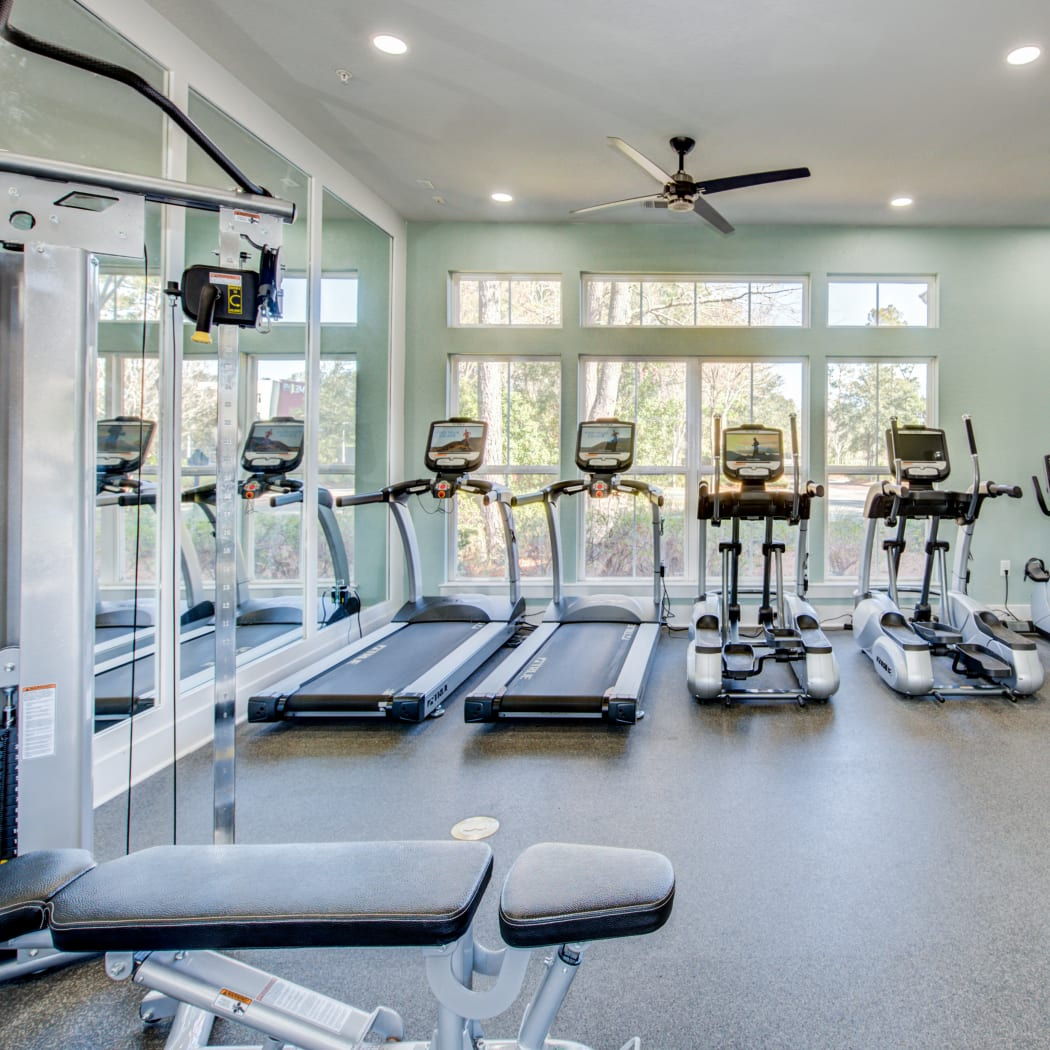 Onsite fitness center at Ingleside Apartments in North Charleston, South Carolina