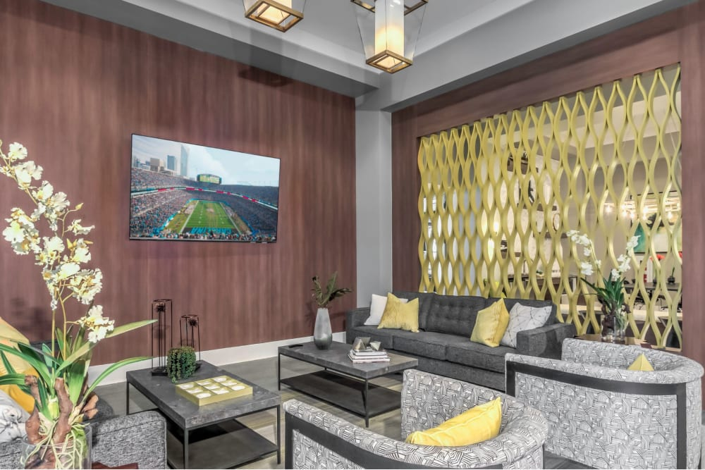 Modern architecture and decor in the resident clubhouse at The Palmer in Charlotte, North Carolina