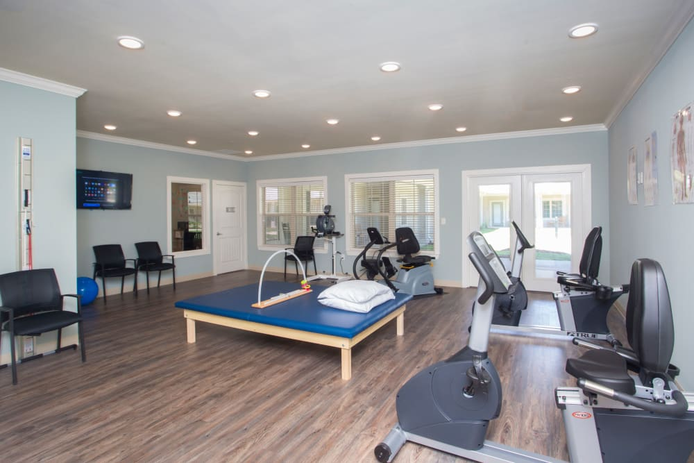 Fitness room at The Claiborne at McComb in McComb, Mississippi.
