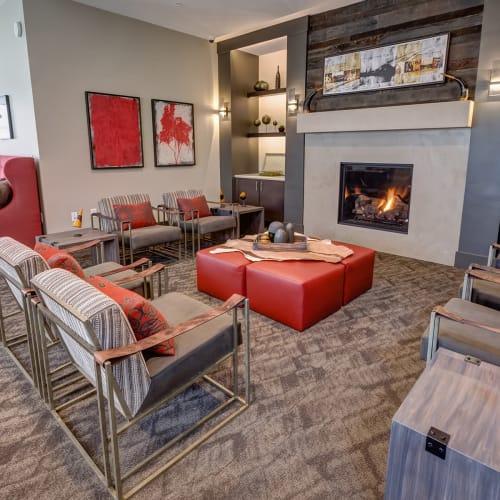 Lounge area in front of the fireplace in the clubhouse at Granite 550 in Casper, Wyoming