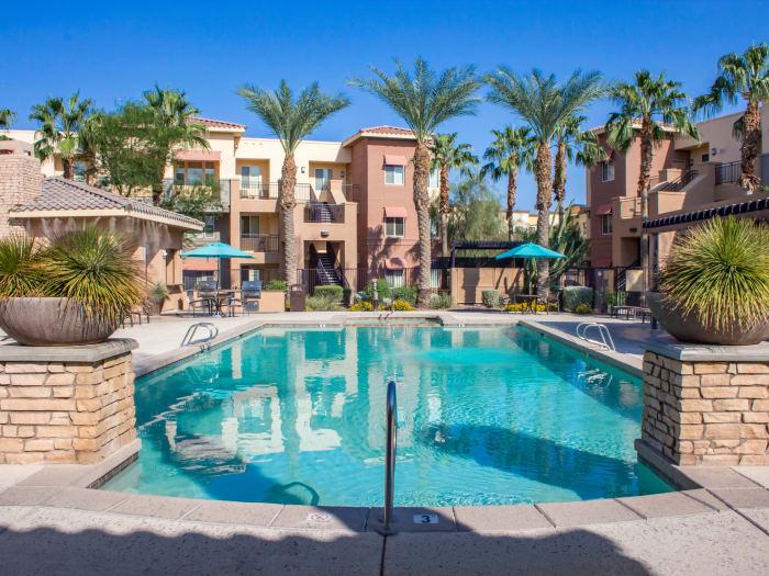 Beautiful swimming pool area at The Residences at Stadium Village in Surprise, Arizona