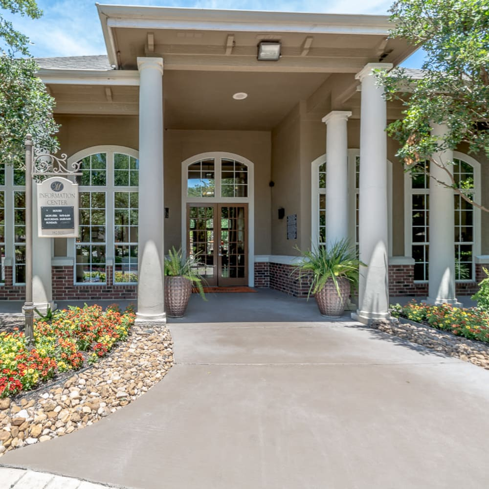 Accessible front entry of building at Alon at Castle Hills in San Antonio, Texas