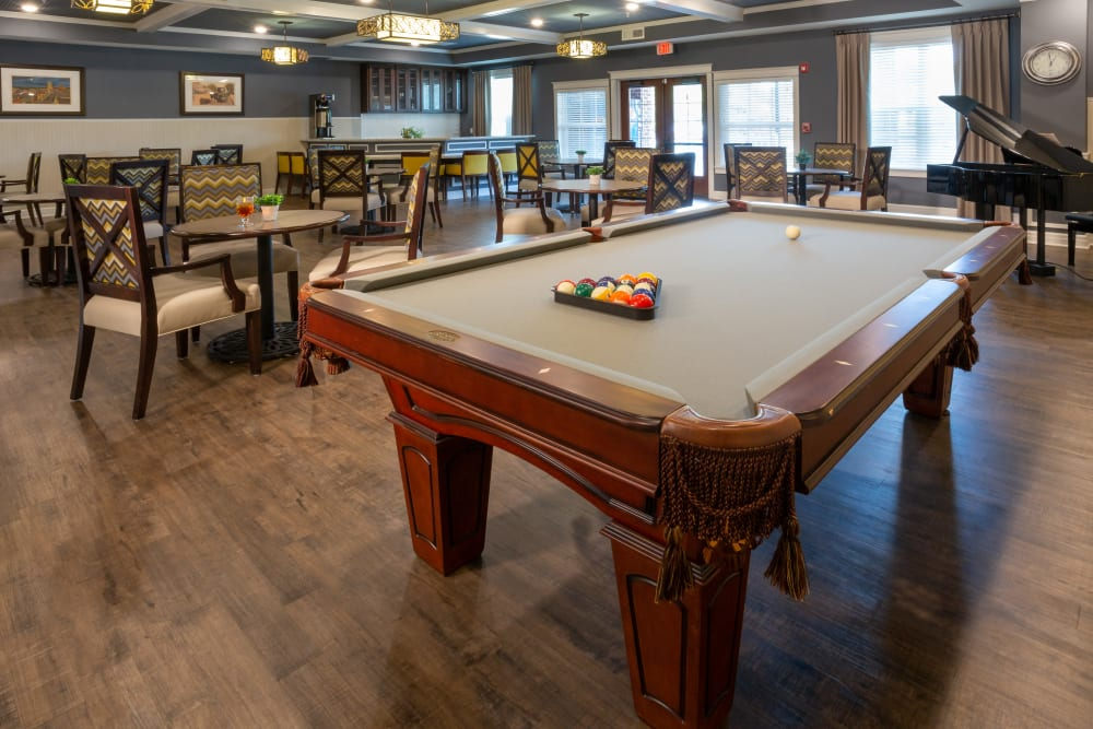 Billiard table in the pub at Harmony at Five Forks in Simpsonville, South Carolina