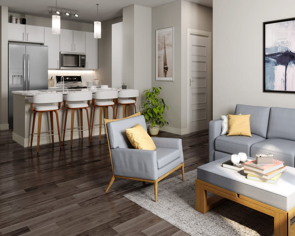 Rendering of an open-concept floor plan at The Abbey at Sonterra in San Antonio, Texas
