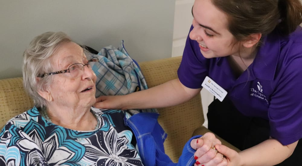 Senior resident and caregiver at The Springs at Grand Park in Billings, Montana