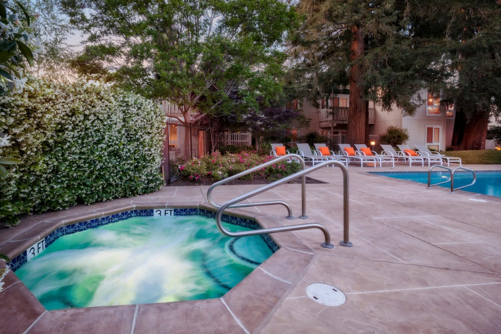 Outdoor hot tub at Brookdale Apartments in San Jose, California