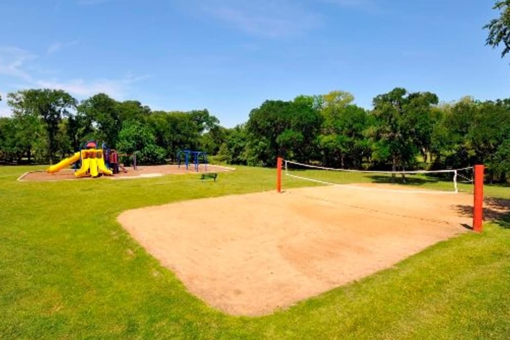Sand volleyball court at Carrollton Park of North Dallas in Dallas, Texas