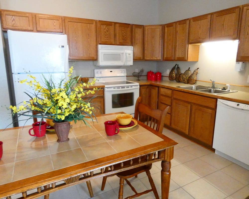 A full kitchen at The Lakeside Village in Panora, Iowa.