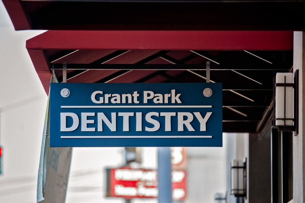 Grant Park Dentistry sign outside their office near Grant Park Village