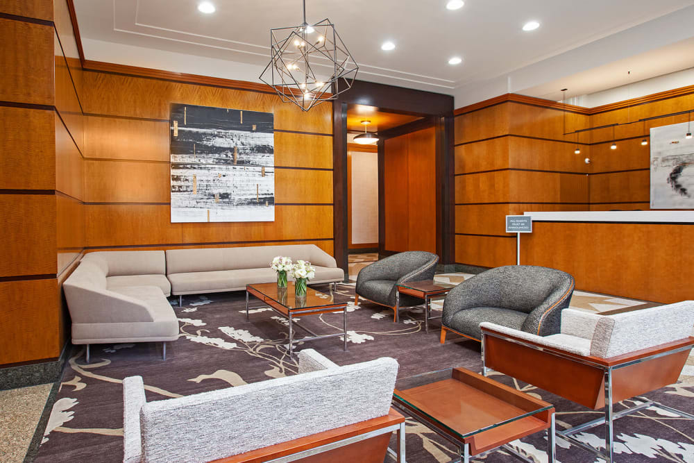Spacious lobby area with tons of seating where residents can relax and hang out at The Ventura in New York, New York