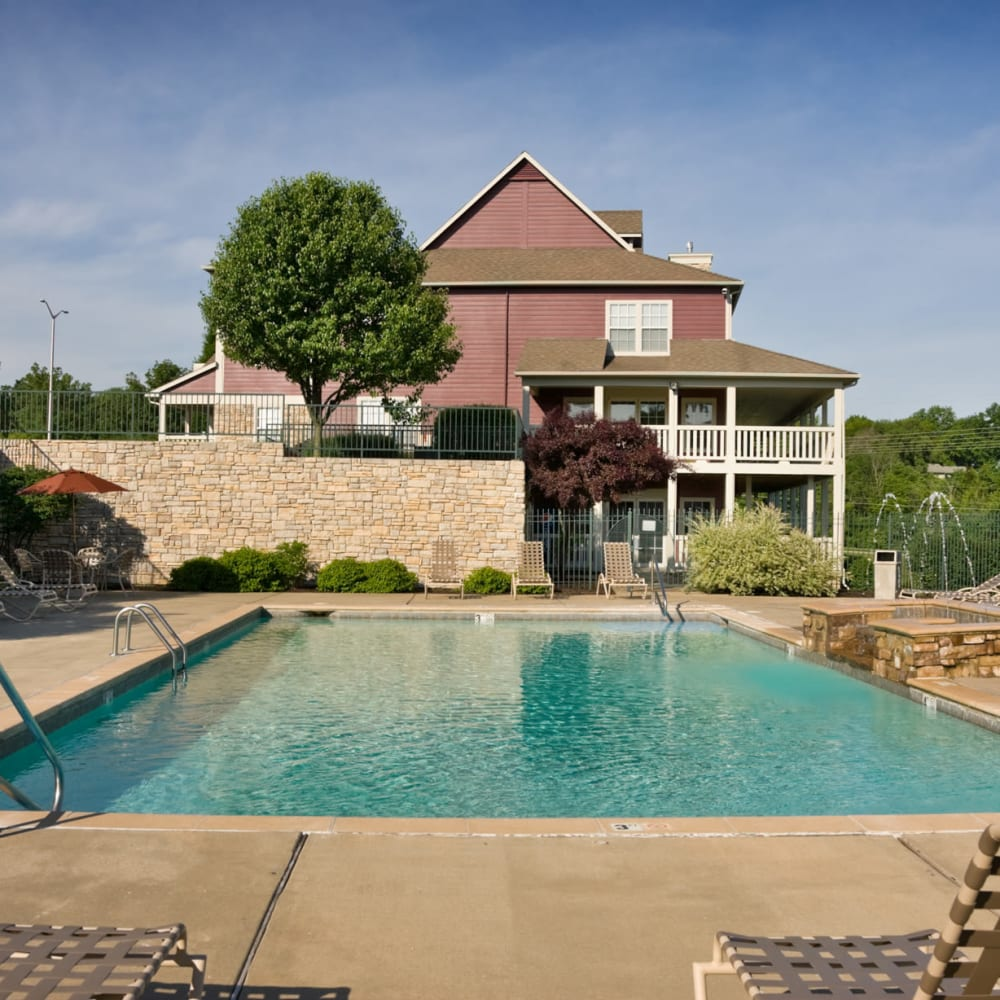 Beautiful resort-style swimming pool at Timber Lakes Apartment Homes in Kansas City, Missouri