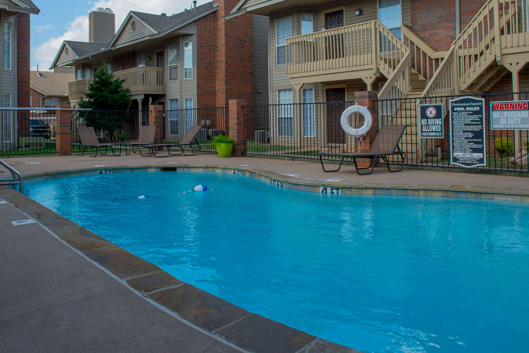Swimming pool at Persimmon Square Apartments in Oklahoma City, Oklahoma