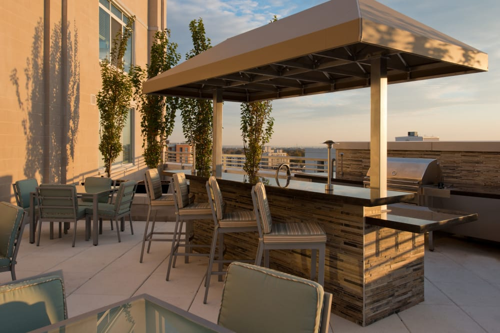 Outdoor bar seating with a view at Solaire 1150 Ripley in Silver Spring, Maryland