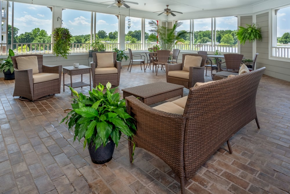 Spacious community porch at Harmony at Five Forks in Simpsonville, South Carolina