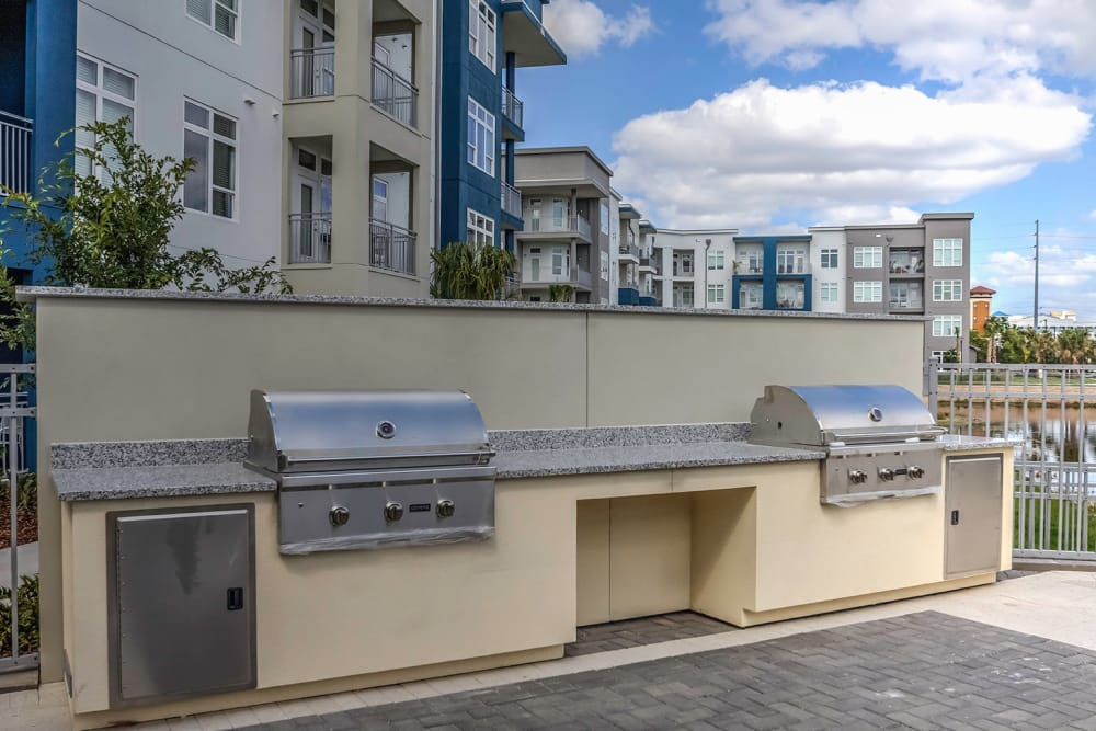 Grilling stations by the pool at  in Orlando, Florida