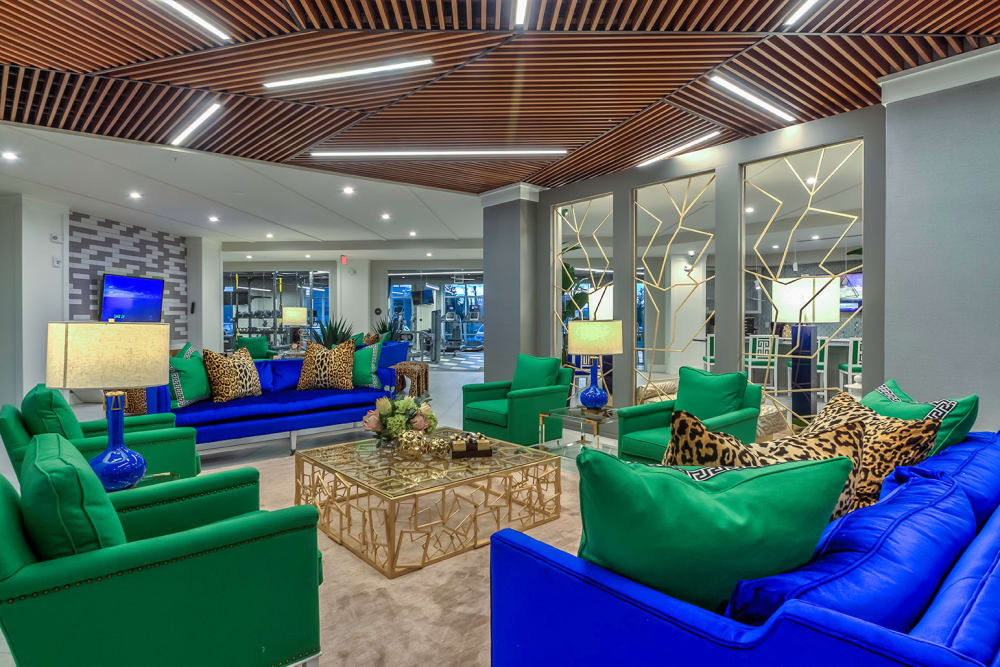 Clubhouse seating with TV at  in Orlando, Florida