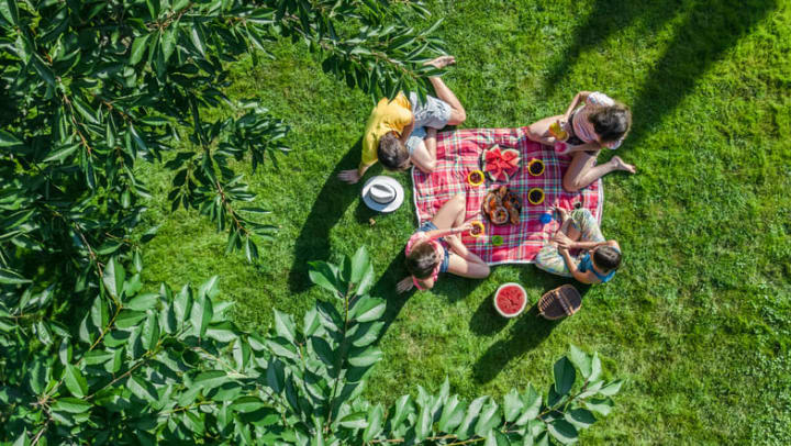 An adult man, adult woman,  male child, and female child have a picnic on a blanket in the park near {{location_name}} in {{location_city}}, {{location_state_name}}.