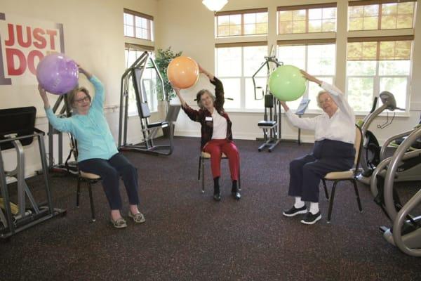 Residents exercising at Ashton Gardens Gracious Retirement Living in Portland, Maine