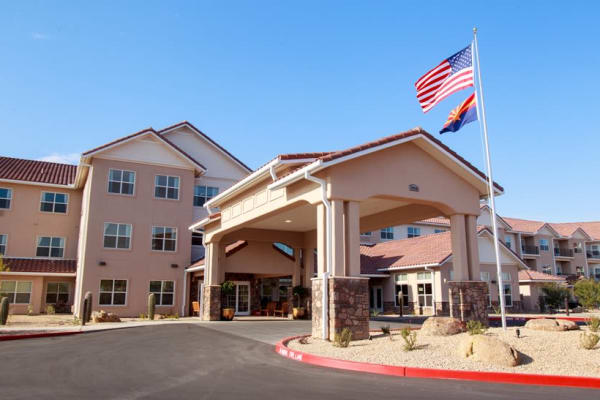 Building exterior of Estrella Estates Gracious Retirement Living in Goodyear, Arizona